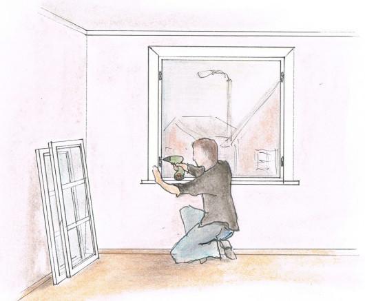 Renowacja drewnianych okien - naprawa mocowania okuć