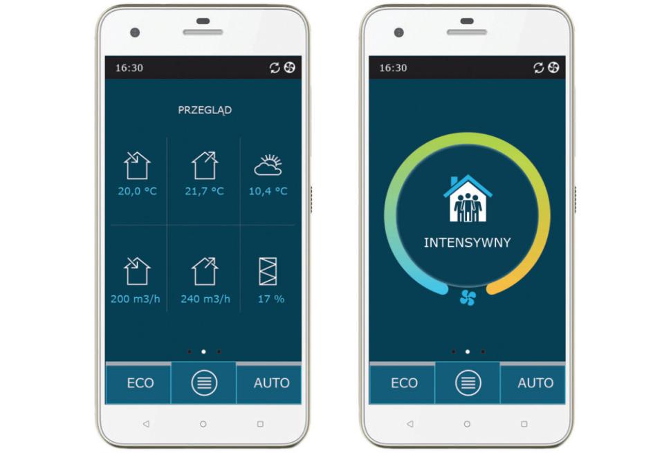 Smartfon z aplikacją Komfovent Control