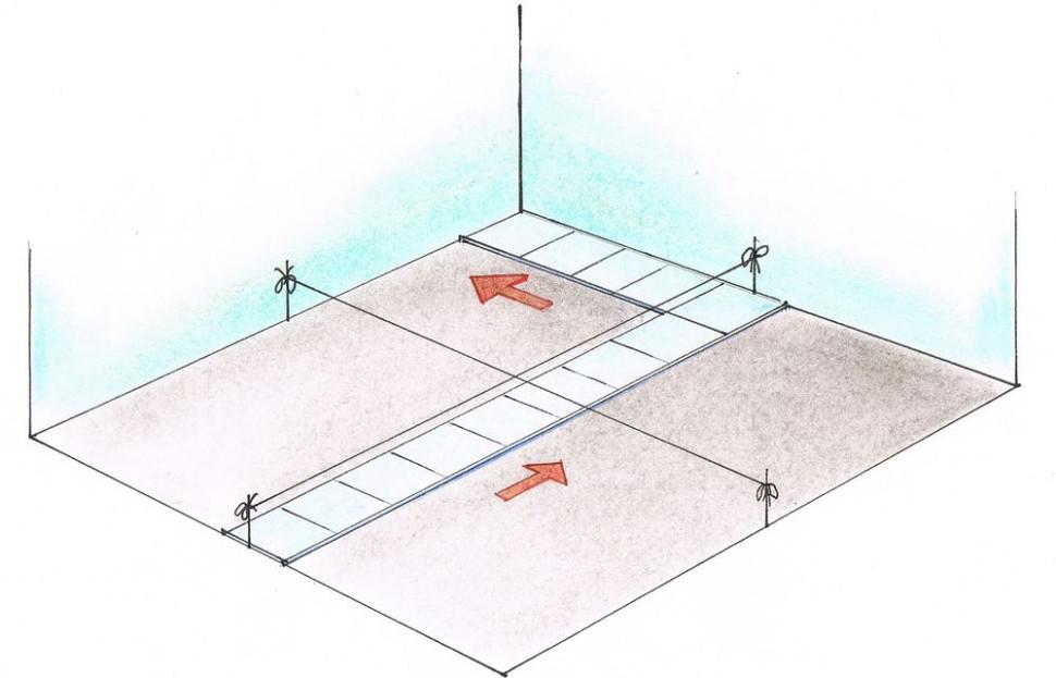 Укладка керамической плитки - Разметка плоскости - направленные полосы