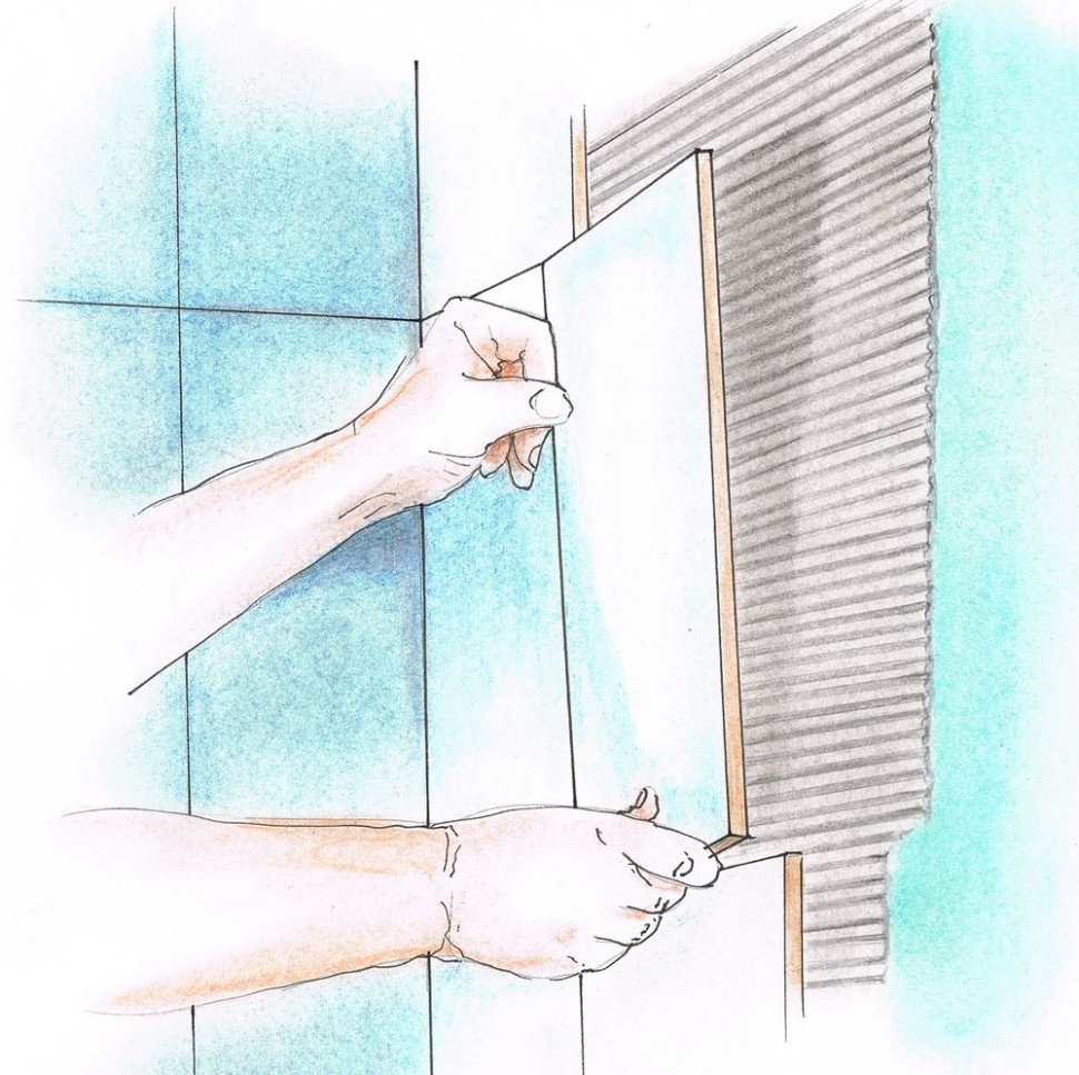 Укладка керамической плитки - Укладка плитки на стену
