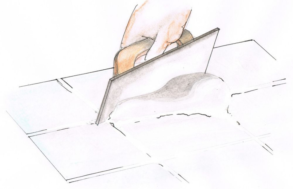 Укладка керамической плитки - Затирка швов